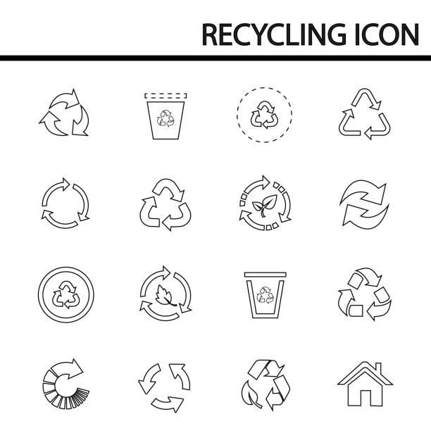 ilustrações de stock, clip art, desenhos animados e ícones de recycling line icons set - circular economy