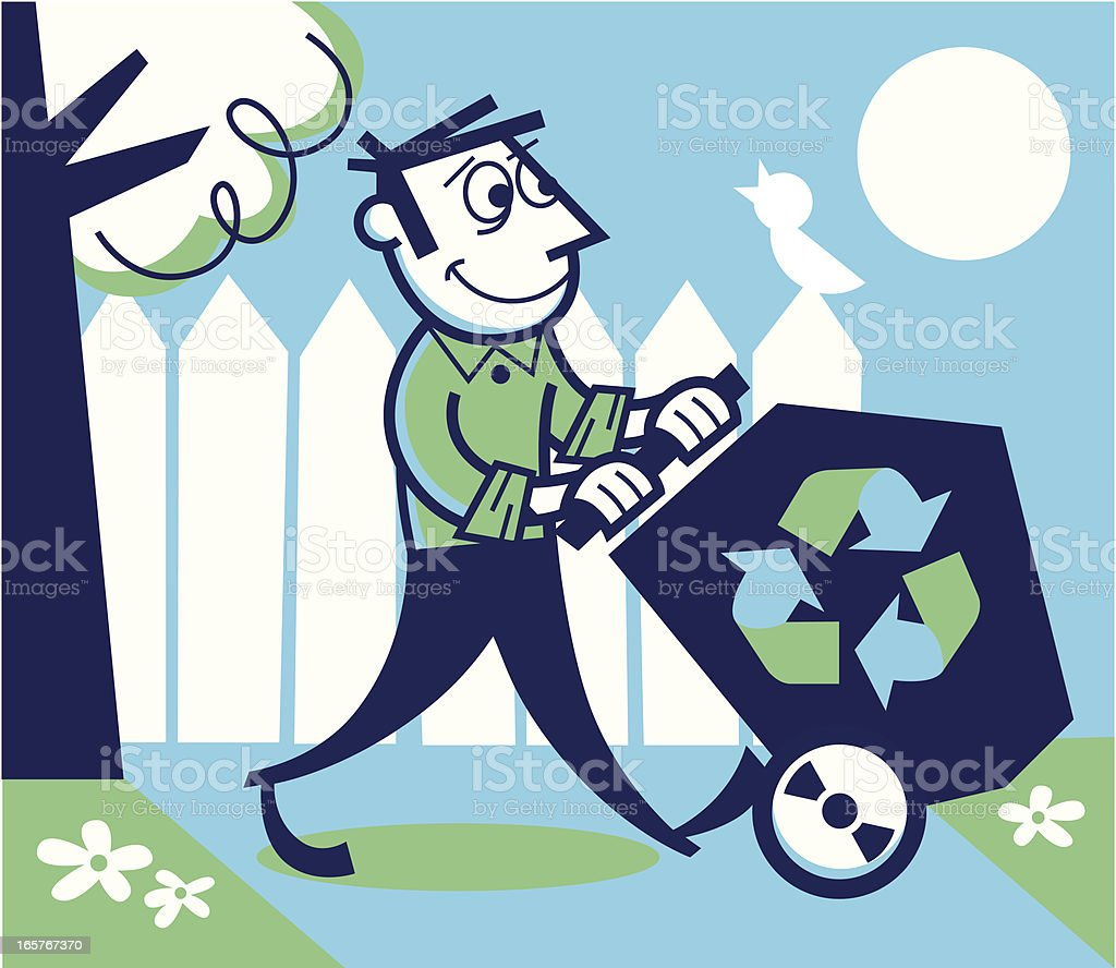 recycling man vector art illustration