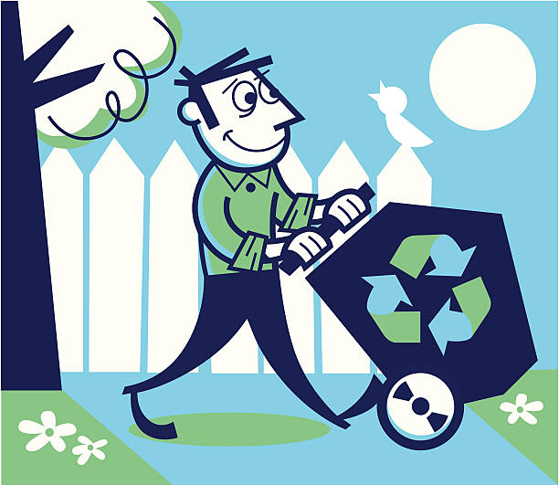 recycling man - peter bajohr stock illustrations, clip art, cartoons, & icons