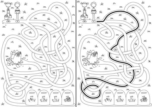 Labirinto de reciclagem - ilustração de arte em vetor