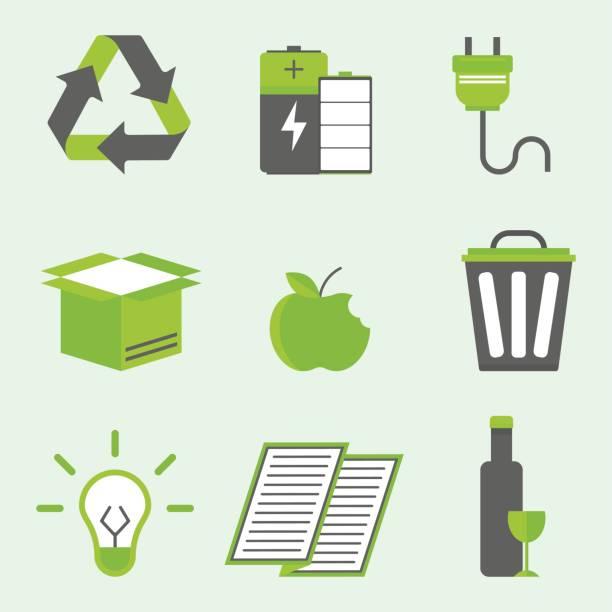 ilustrações de stock, clip art, desenhos animados e ícones de recycling nature icons waste sorting environment creative protection symbols vector illustration - box separate life