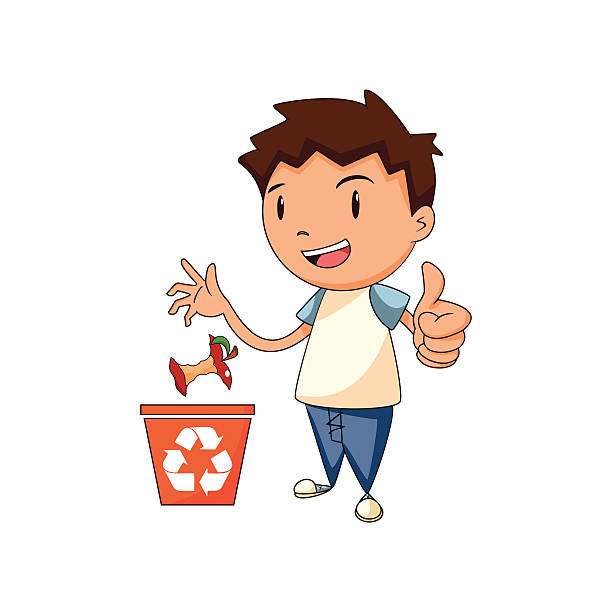 recycling organic waste, vector illustration - child throwing garbage stock illustrations, clip art, cartoons, & icons