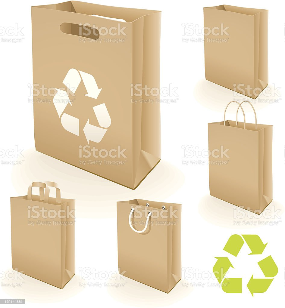 Recycling paper bag vector art illustration