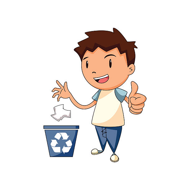 recycling paper, vector illustration - child throwing garbage stock illustrations, clip art, cartoons, & icons