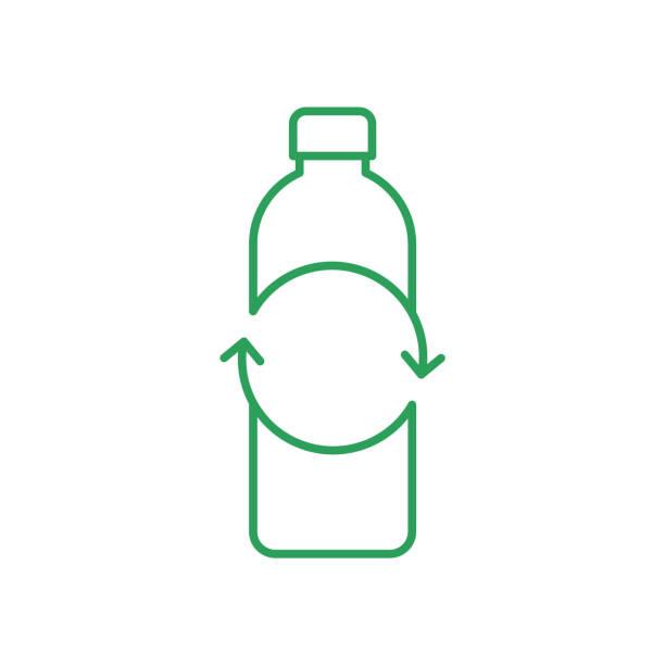 recycling kunststoff-flasche zeichen. leere flasche mit kreispfeilen. dünnelinie-symbol. - altglas stock-grafiken, -clipart, -cartoons und -symbole