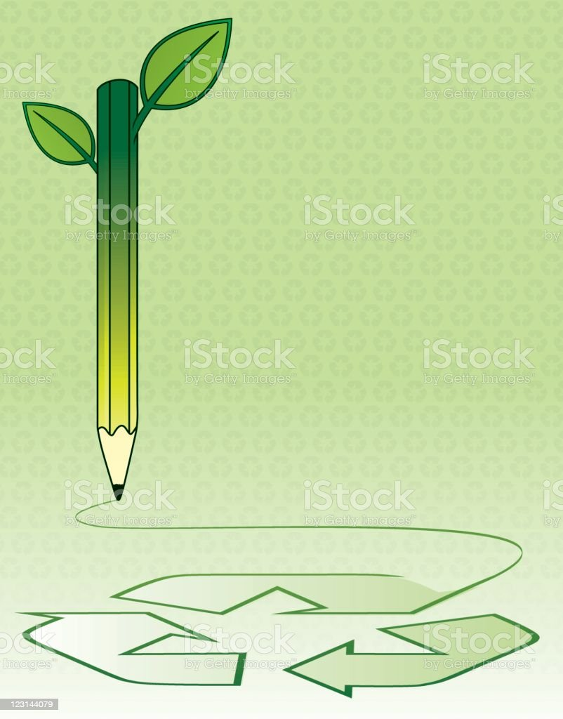 Recycling poster with pencil vector art illustration