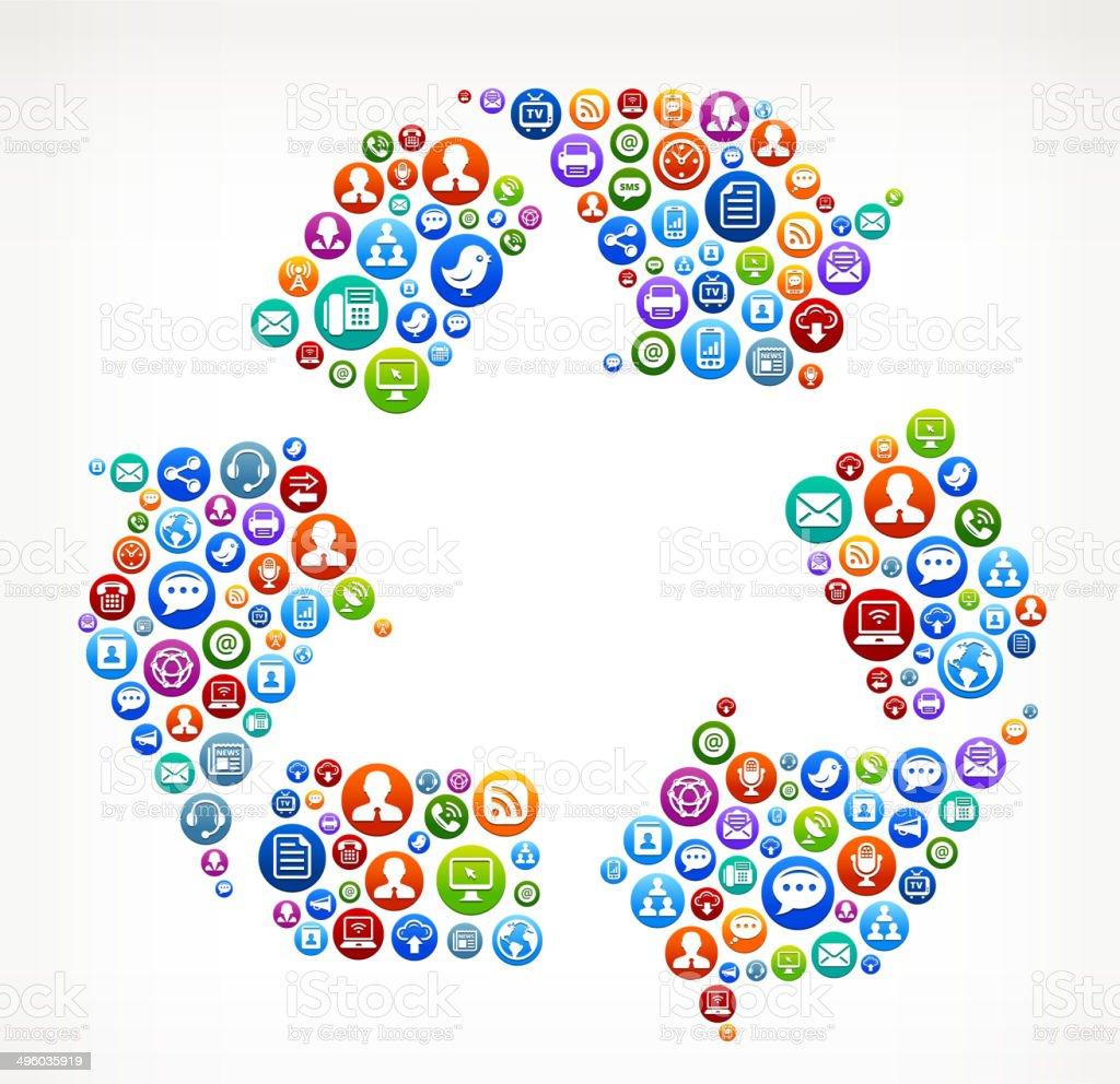 Recycling Lizenzfreie Vektorsocial Network Und Interneticonset Stock Vektor  Art und mehr Bilder von Blau