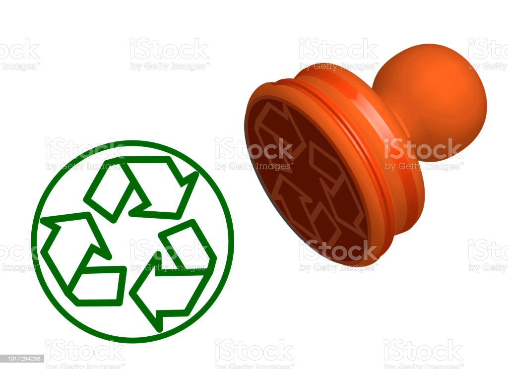 recycling sign stamp isolated on white background
