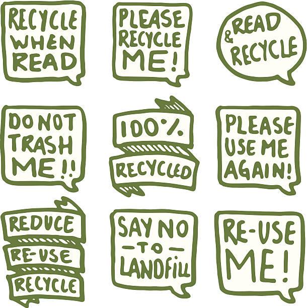 Recycling symbol set Sprechblase – Vektorgrafik
