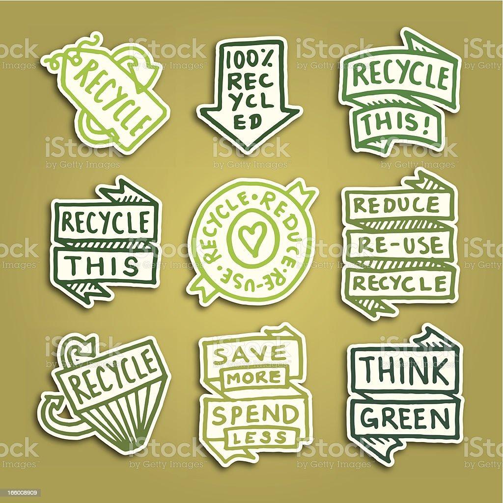 Recycling-Klebezettel Abzeichen Symbol Vektor icon-set – Vektorgrafik