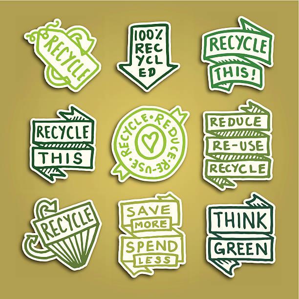 bildbanksillustrationer, clip art samt tecknat material och ikoner med recycling sticky note badge icons vector icon set - recycling heart