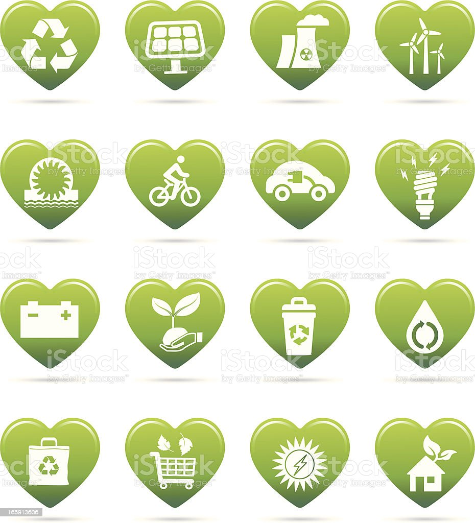 recycling symbol and alternative green energy icon in heart shapes royalty-free stock vector art
