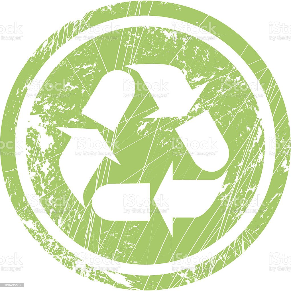 Recycling symbol for stamp and labels royalty-free stock vector art