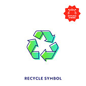 istock Recycling Symbol Gradient Flat Line Icon with Editable Stroke and Pixel Perfect. 1218991354