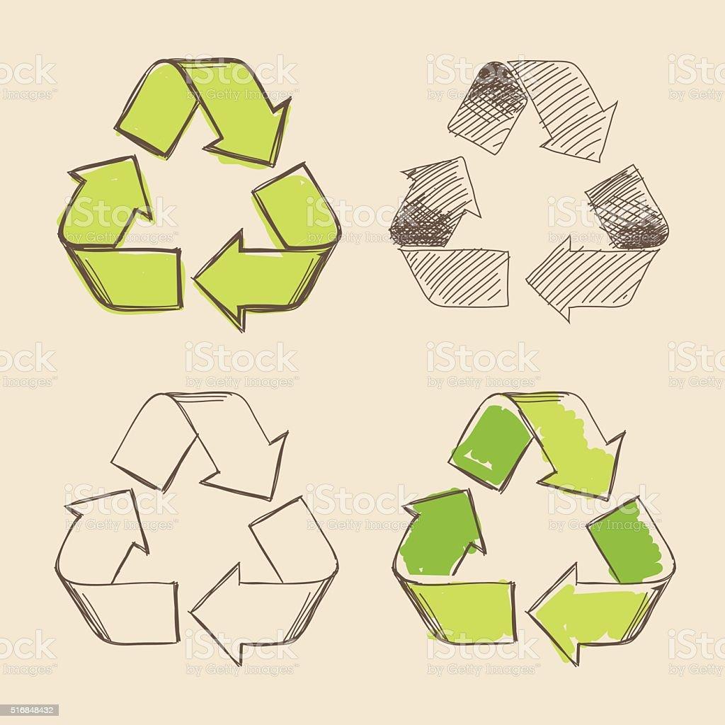 Recycling Symbol Hand Drawing Vector vector art illustration
