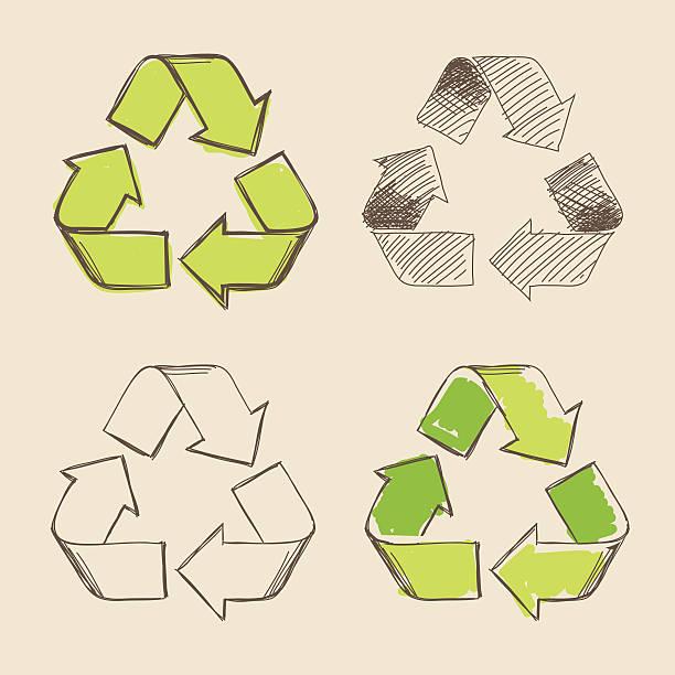recycling-symbol von hand-zeichnung vektor - recycling stock-grafiken, -clipart, -cartoons und -symbole
