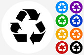 Recycling Symbol Icon on Flat Color Circle Buttons