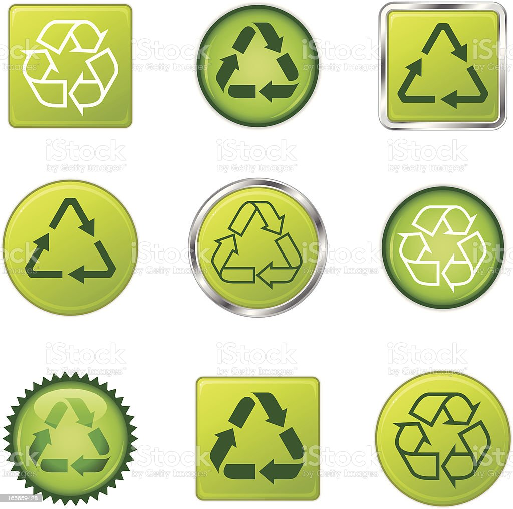 A set of recycling symbol icons.