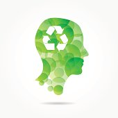 recycling symbol in green bubble head