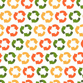 istock Recycling symbol in three colors. Red, green and yellow waste recycling signs.Vector seamless pattern in flat style. A background to draw attention to environmental issues and the conservation of land 1269201305