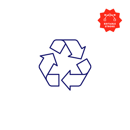 Recycle Sign Single Icon with Editable Stroke and Pixel Perfect.