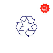 istock Recycling Symbol Line Icon with Editable Stroke and Pixel Perfect. 1206847505