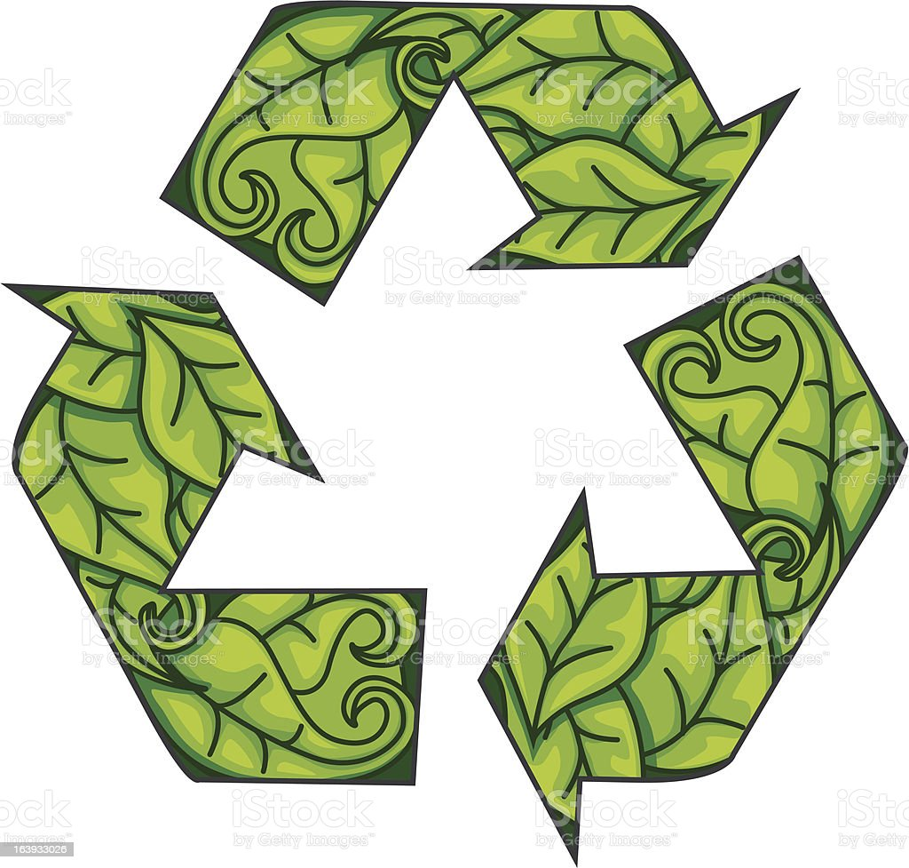 recycling symbol made of leaves royalty-free stock vector art