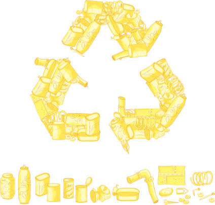 Recycling symbol made up of recycled items