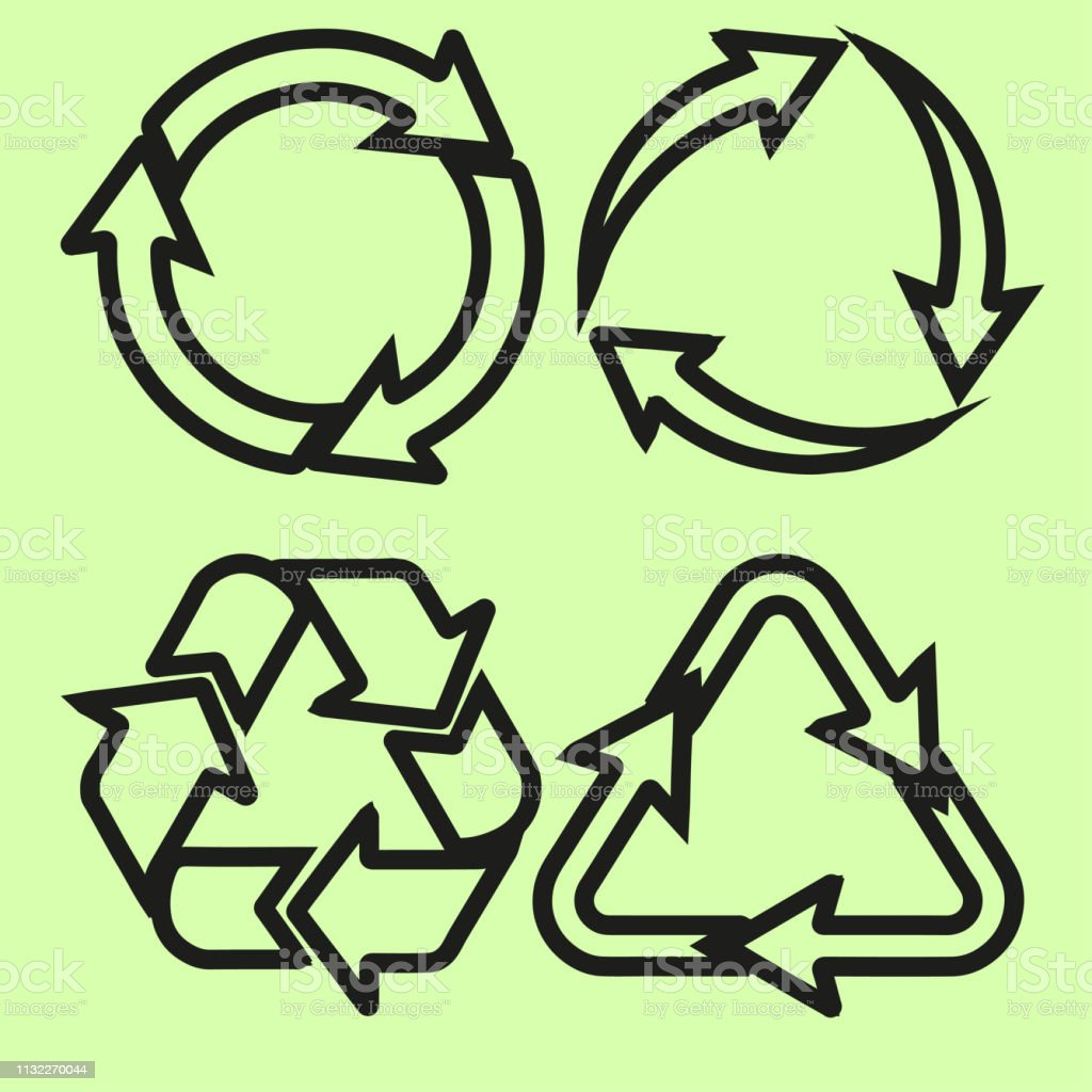 recycling symbol of ecologically pure funds, green vector collection,...