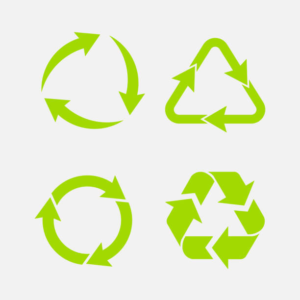 ilustrações de stock, clip art, desenhos animados e ícones de recycling symbol of ecologically pure funds, set of arrows - economia circular
