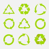 recycling symbol of ecologically pure funds, set of arrows, green vector collection vector image