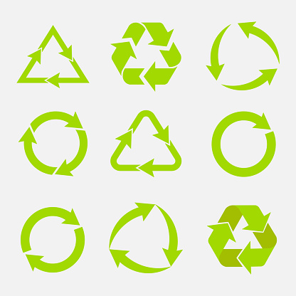 recycling symbol of ecologically pure funds, set of arrows
