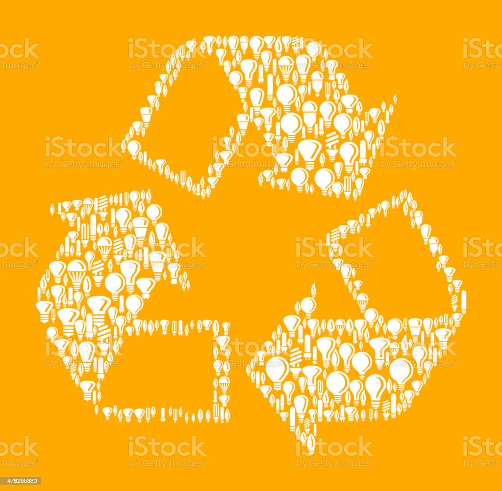Recycling Symbol on Vector Lightbulb Pattern Background vector art illustration