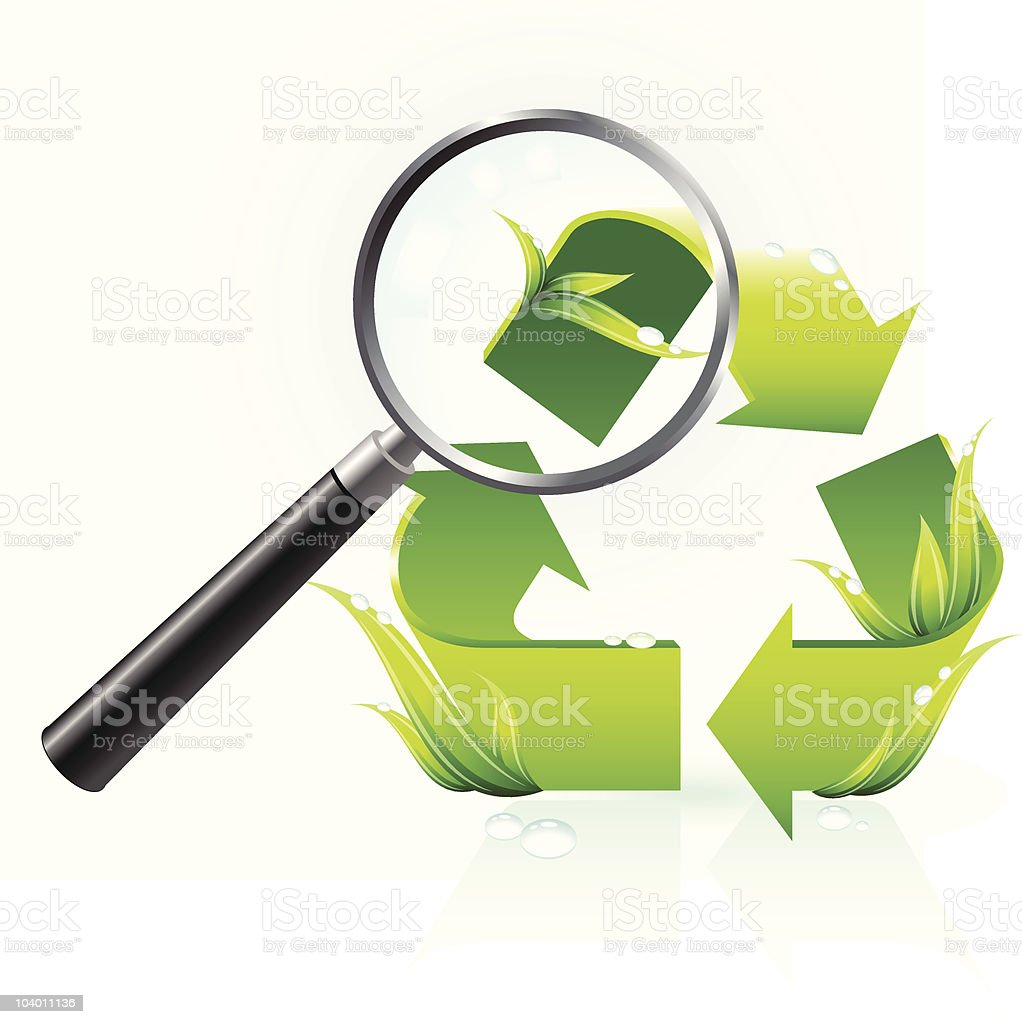 Recycling Symbol Under Magnifying Glass Stock Vector Art More