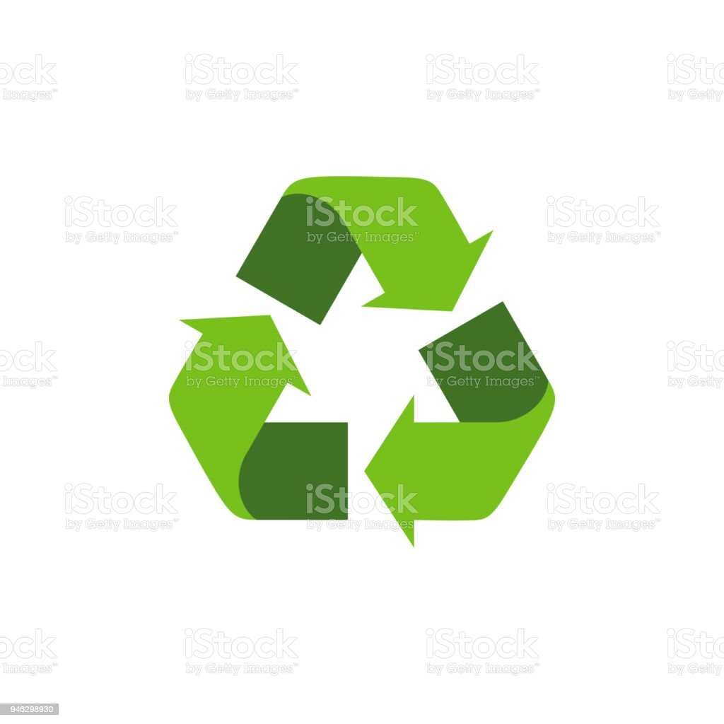 Recycling Symbol With Green Arrows Isolated Recycle Icon On The
