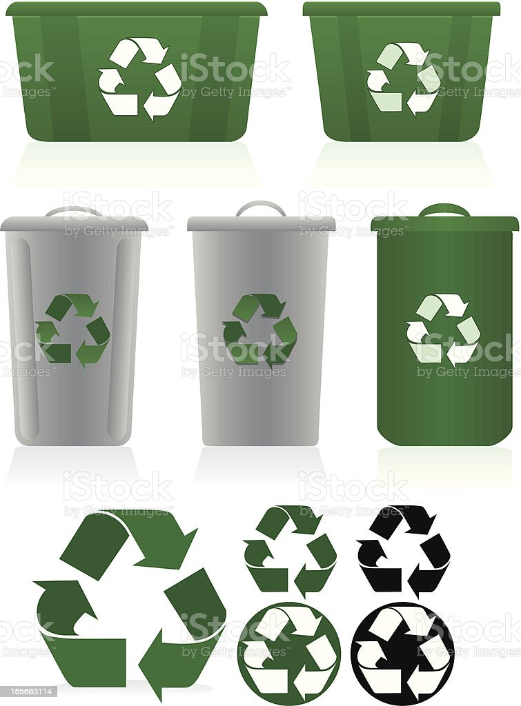 Recycling Symbols And Recycle Bins Set Green White Gray Stock Vector