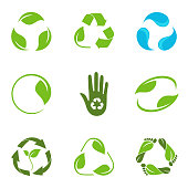 Set of alternative versions of recycling symbol with leaves and water droplets