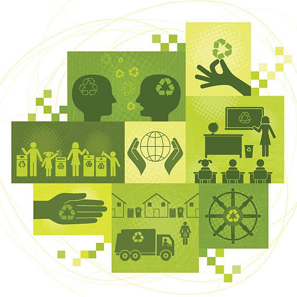 illustrazioni stock, clip art, cartoni animati e icone di tendenza di riciclaggio temi montaggio - composting