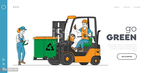 Recycling, Trash Storage for Further Disposal Landing Page Template. Worker Character Driving Forklift Truck with Garbage for Waste Processing Technological Process. Linear People Vector Illustration