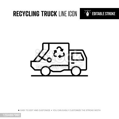 Recycling Truck Line Icon - Editable Stroke