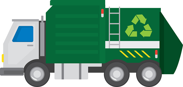 Recycling truck on a white background