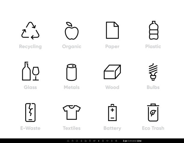 Recycling vector icons. Sorting Garbage, Reclamation, Trash Types. Editable line set vector art illustration