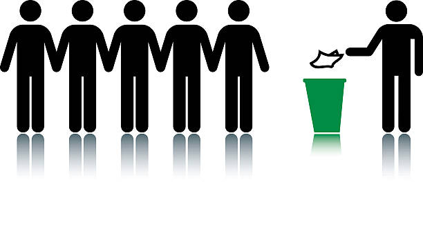 Recycling Group of men in a line with ed character putting something into a recycling bin. people in a row stock illustrations