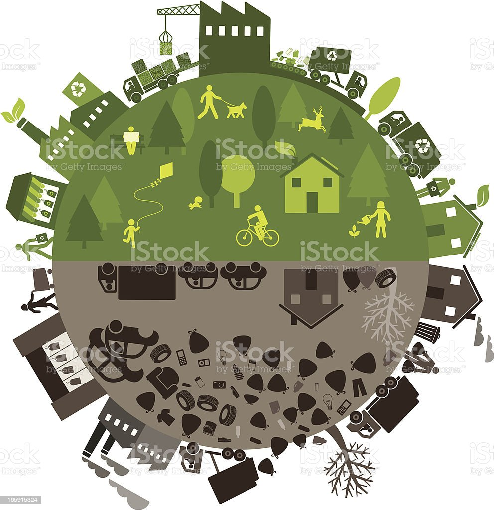 Recycling vs. landfill process and effects cartoon vector art illustration