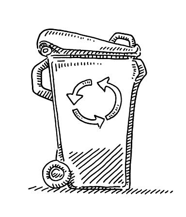 Recycling Waste Bin Drawing
