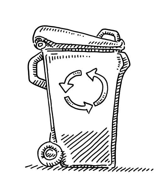 Recycling Waste Bin Drawing vector art illustration
