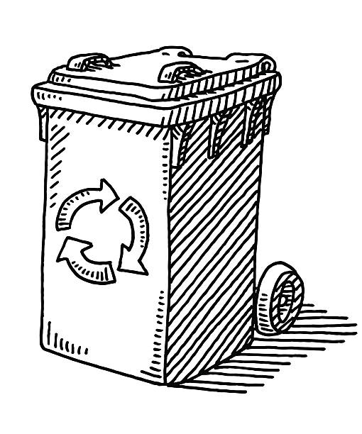 Recycling Waste Container Drawing Hand-drawn vector drawing of a Recycling Waste Container. Black-and-White sketch on a transparent background (.eps-file). Included files are EPS (v10) and Hi-Res JPG. environment stock illustrations