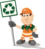 Recycling Worker Cartoon Man Sign Isolated
