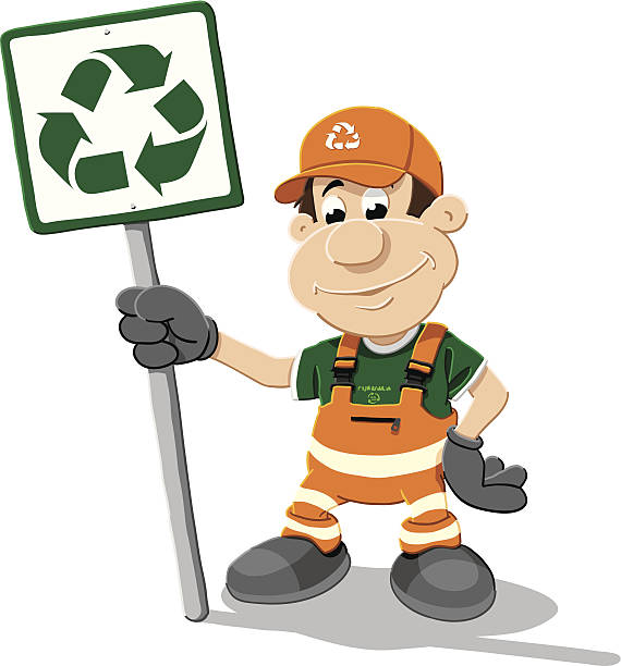 Recycling Worker Cartoon Man Sign Isolated Vector Illustration of a worker, who is holding a recycling sign. The illustration is on a transparent background (.eps-file). The colors in the .eps-file are ready for print (CMYK). Included files: EPS (v8) and Hi-Res JPG. cartoon people sign stock illustrations