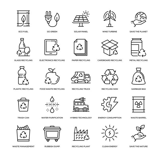 recyling-icon-set - ecosystem stock-grafiken, -clipart, -cartoons und -symbole